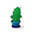 one cartoon cactus in a pot vector image