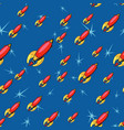 seamless pattern retro rockets vector image