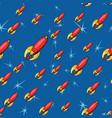 seamless pattern retro rockets vector image
