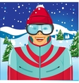 smiling skier with ski goggles vector image