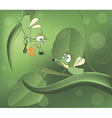 Green glowworms and love cartoon vector image