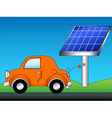 Eco car and solar panel vector image