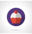 Valentine cupcake purple round flat icon vector image