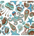 seamless pattern of sea life fishes whale vector image