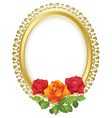 Oval golden frame with roses vector image