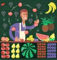 cartoon character fruit seller vector image