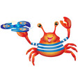 Cartoon cute cheerful crab with spinner vector image