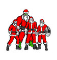 four people in santa claus costume vector image