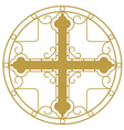 Ornamented Golden Christian Holy cross vector image