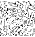 Seamless jazz musical instruments pattern vector image