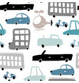 seamless pattern with hand drawn transport cartoon vector image