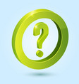 Green question symbol isolated on blue background vector image vector image