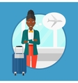 Woman suffering from fear of flying vector image vector image