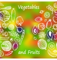 Vegetables and Fruits Doodle Set vector image