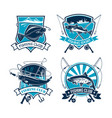 fishing sport club icons set vector image