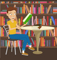 male student reads textbook in college library vector image