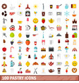 100 pastry icons set flat style vector image