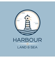 Flat lighthouse icon on blue sea vector image