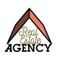 Color vintage real estate agency emblem vector image