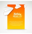Paper airplane postcard vector image vector image