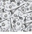 pattern with the Eiffel Tower and bicycles vector image