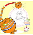 birthday card with happy cat vector image