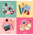 Cosmetics Makeup Concept 4 Icons Square vector image