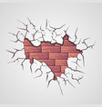 cracks with brick wall vector image