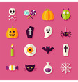 Flat Halloween Trick or Treat Objects Set with vector image