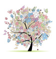 Floral tree in pastel colors vector image