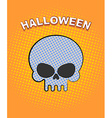 Halloween pop art Skull on an orange background of vector image