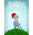 Knight card happy birthday vector image