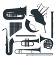 Wind musical instruments silhouette vector image