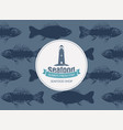 banner for seafood with lighthouse and seamless vector image