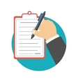 Businessman holding a clipboard and writing vector image