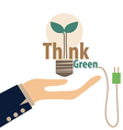 Think green Eco concept Light bulb with tree vector image