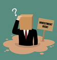 Cardboard businessman sinking in a quicksand vector image vector image