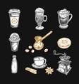 coffee sketch icons set vector image