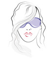 Girl face sketch vector image