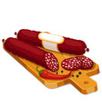 salami smoked sausage slices with chili and pepper vector image