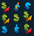 Set of 3d blue and green dollar signs with vector image