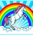 fairy animal unicorn and rainbow pop art vector image