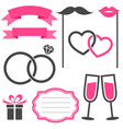 set of wedding elements isolated on white vector image