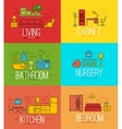 Flat room furnishing color vector image vector image