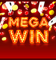 casino mega win signboard game banner design vector image