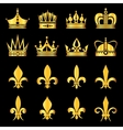 Crowns in gold black vector image