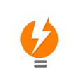 orange lamp abstract logo lighbulb with white vector image