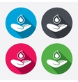 Save water sign Hand holds water drop symbol vector image