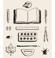 Set School office supplies top view Open book vector image