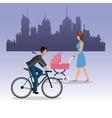 woman walking pram and boy ride bike city vector image